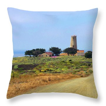 Piedras Blancas Historic Light Station - Outstanding Natural Area Central California Throw Pillow by Christine Till