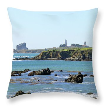 Throw Pillow featuring the photograph Piedras Blancas Lighthouse by Art Block Collections
