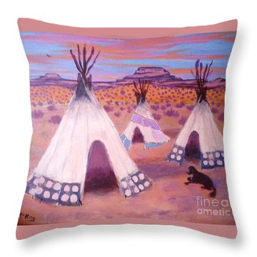 Throw Pillow featuring the painting Piegan Indian Tipis by Suzanne McKay