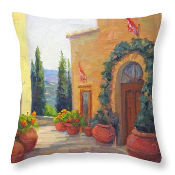 Pienza Passage Throw Pillow by Bunny Oliver