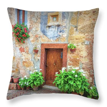 Pienza Street Scene Throw Pillow