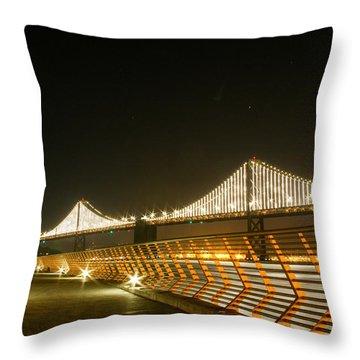 Pier 14 And Bay Bridge Lights Throw Pillow