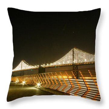 Pier 14 And Bay Bridge Lights Throw Pillow
