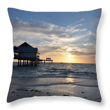 Pier 60 At Clearwater Beach Florida Throw Pillow by Bill Cannon