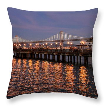 Pier 7 And Bay Bridge Lights At Sunset Throw Pillow
