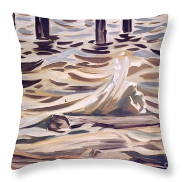 Pier At Granthams Landing Throw Pillow