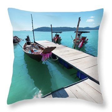 Throw Pillow featuring the photograph Pier At Khanom by Atiketta Sangasaeng