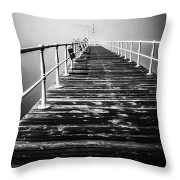 Pier At Pooley Bridge On Ullswater In The Lake District Throw Pillow