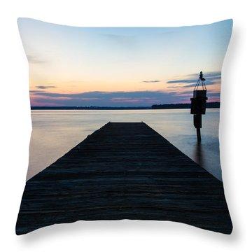 Pier At Sunset 16x20 Throw Pillow