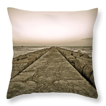 Pier At Sunset Throw Pillow by Marilyn Hunt