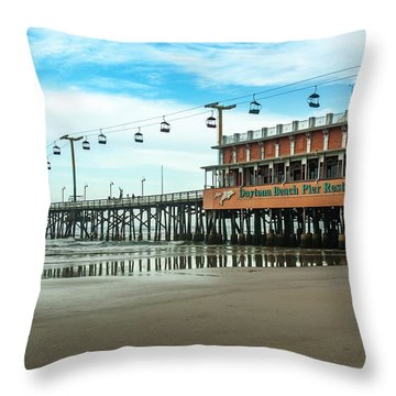 Pier Daytona Beach Throw Pillow by Carolyn Marshall