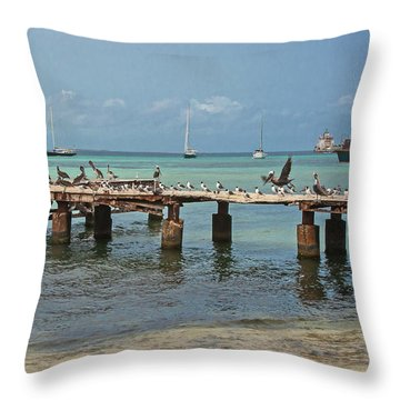 Pier For Birds Throw Pillow