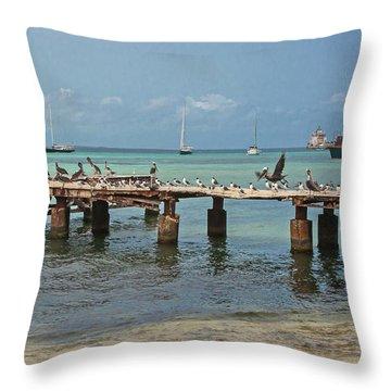 Pier For Birds Throw Pillow