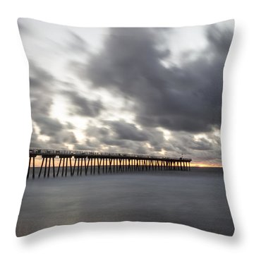 Pier In Misty Waters Throw Pillow by Ed Clark