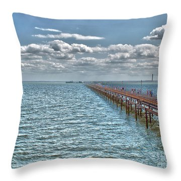 Pier Into The English Channel Throw Pillow