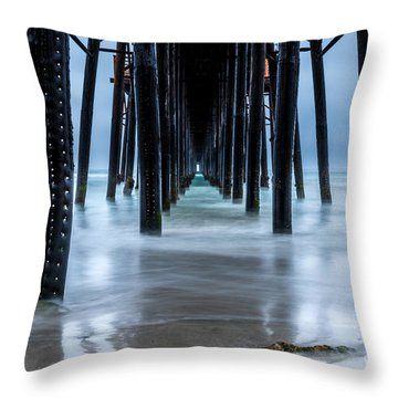 Pier Into The Ocean Throw Pillow by Leo Bounds