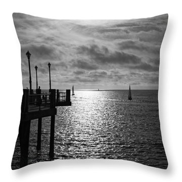 Throw Pillow featuring the photograph Pier Into The Sun by Michael Hope