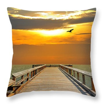 Pier Into The Sunset Throw Pillow