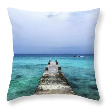 Pier On Caribbean Sea With Boat Throw Pillow