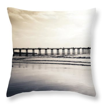 Throw Pillow featuring the photograph Pier On Duotone by Michael Hope