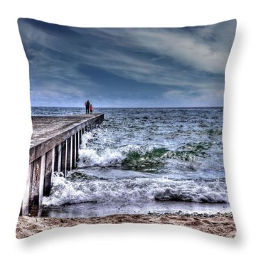 Pier On The Beach  Throw Pillow