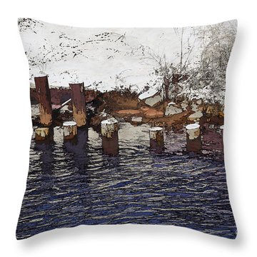 Throw Pillow featuring the digital art Pier Piles by David Blank