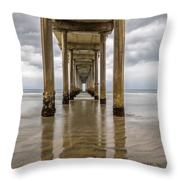 Throw Pillow featuring the photograph Pier Review by Dustin  LeFevre