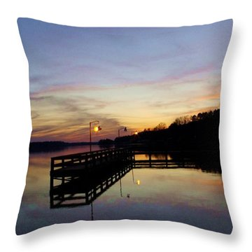 Pier Silhouetted In The Sunset On The Coosa River Throw Pillow