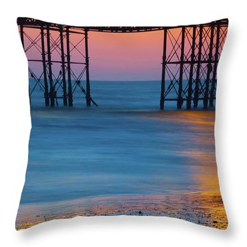 Pier Supports At Sunset I Throw Pillow