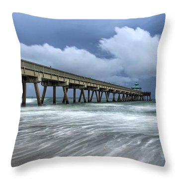Pier Time Lapse Throw Pillow