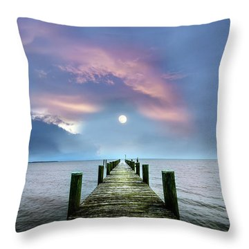 Pier To The Moon Throw Pillow