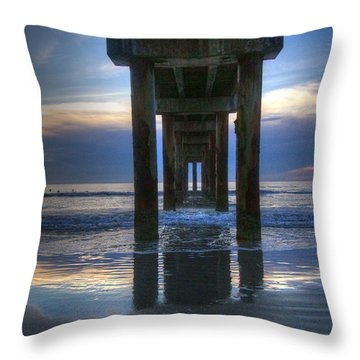 Pier View At Dawn Throw Pillow by Myrna Bradshaw