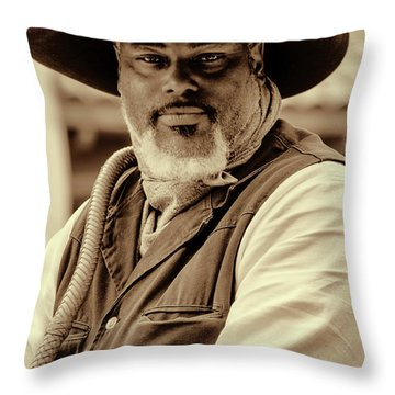 Piercing Eyes Of The Cowboy Throw Pillow