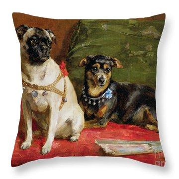 Pierette And Mifs Throw Pillow by Charles van den Eycken