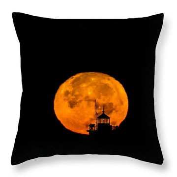Throw Pillow featuring the photograph Pierhead Supermoon Silhouette by Everet Regal