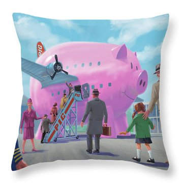 Pig Airline Airport Throw Pillow