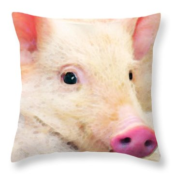Pig Art - Pretty In Pink Throw Pillow by Sharon Cummings