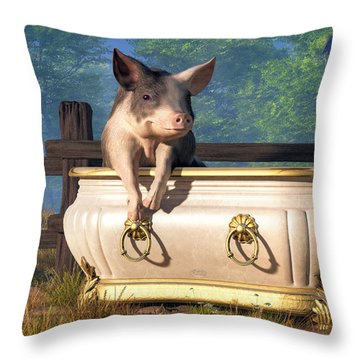 Pig In A Bathtub Throw Pillow by Daniel Eskridge