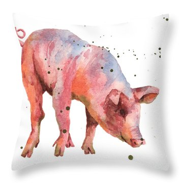 Pig Painting Throw Pillow by Alison Fennell