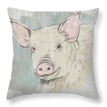 Pig Portrait-farm Animals Throw Pillow