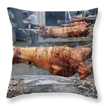 Throw Pillow featuring the photograph Pig Roast by Bill Thomson