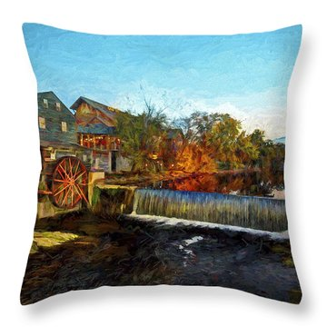Pigeon Forge Old Mill Throw Pillow