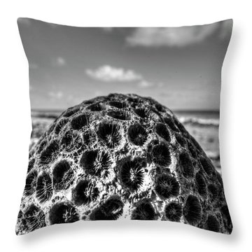 Pigeon Island Egg Shaped Coral Saint Lucia St Lucia Black And White Throw Pillow