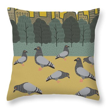 Pigeons Day Out Throw Pillow by Nicole Wilson