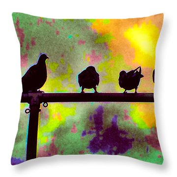 Pigeons In Abstract 2 Throw Pillow