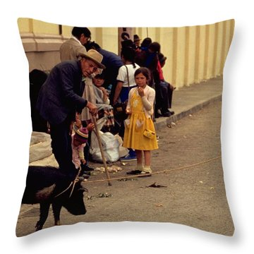 Throw Pillow featuring the photograph Piggy Went To Market by Travel Pics