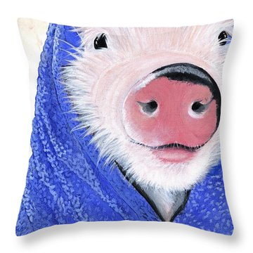 Piglet In A Blanket Throw Pillow