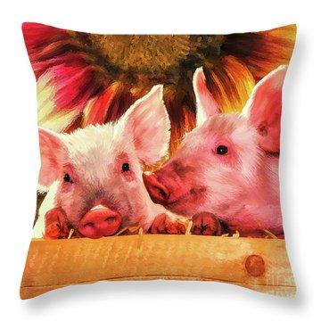 Piglet Playmates Throw Pillow by Tina LeCour