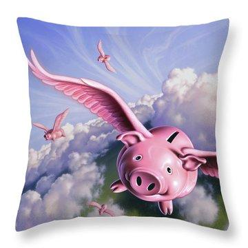 Pigs Away Throw Pillow