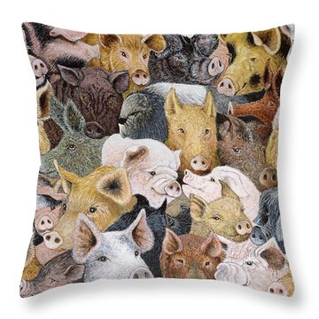 Pigs Galore Throw Pillow by Pat Scott